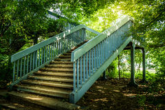 Metal stairs in the woods stock photos