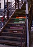 Metal stairway to Chicago elevated & x28;el& x29; train. Stock Photos