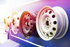 Metal stamped rims for cars in shop. Metal stamped rims of wheels for cars in the shop royalty free stock images