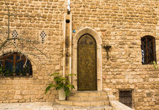 Metal stamping door, Jaffa Royalty Free Stock Photography
