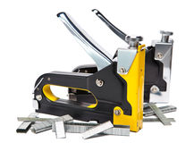 Metal stapler and brackets of the various size for repair work on the house Stock Image