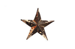 Metal star. Antique metal star isolated on white Royalty Free Stock Photos