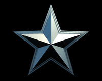 Metal star. Metal steel star on a black background royalty free illustration