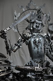Metal statue of Manjusri Boddhisattva. The statue of Manjusri Boddhisattva,made of discarded mechanical components,at Chengdu Eastern Music Park,the first and Royalty Free Stock Photo