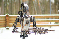 Metal statue of a robot in the park Royalty Free Stock Photo