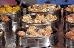 Metal Steamers with Dim Sum Dishes Stock Photography