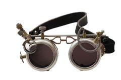 Metal steampunk glasses, google isolated on white background, close up. Metal steampunk glasses, google isolated on the white background, close up stock images