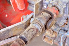 Metal steel drive shaft a large size ball bearing support Stock Photo