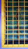 Metal steel home windows painted yellow Stock Image