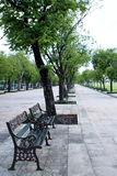 Metal steel old fashioned bench chair along the SANAM LUANG park Stock Photo