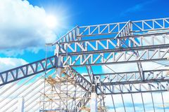 Metal steel roof construction structure. Frame work Stock Photos