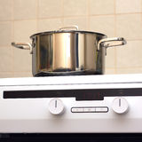 Metal steel saucepan on modern kitchen electric stove Stock Image