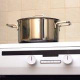Metal steel saucepan on modern kitchen electric stove Stock Image