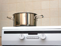 Metal steel saucepan on modern kitchen electric stove Stock Photography