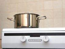 Metal steel saucepan on modern kitchen electric stove Stock Photography