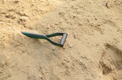 Metal steel shovel on sand for construction Royalty Free Stock Image