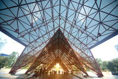 Metal steel Structure Architecture detail Modern design roof. Stock Image