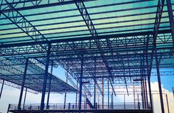 Metal steels and aluminium frame structure for factory and warehouse construction industry royalty free stock photo