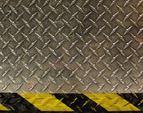 Metal step. And caution background Royalty Free Stock Photography