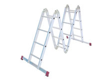 Metal step-ladder isolated. Aluminum metal step-ladder isolated white background Stock Photography