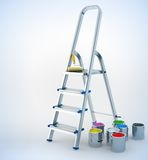 Metal stepladder and paint for maintenance work Stock Photo