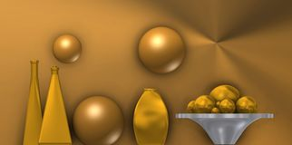 Metal still life with blue balls. Futuristic vision of a classic still life composition, with golden balls Stock Photo