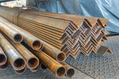 Metal in stock, corner, channel, beam. Metal structures for the assembly of metal products.  stock photography
