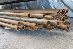 Metal in stock, corner, channel, beam. Metal structures for the assembly of metal products.  stock image