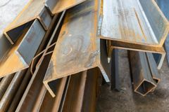 Metal in stock, corner, channel, beam. Metal structures for the assembly of metal products.  stock photo