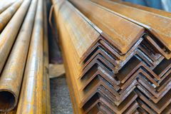 Metal in stock, corner, channel, beam. Metal structures for the assembly of metal products.  royalty free stock photography