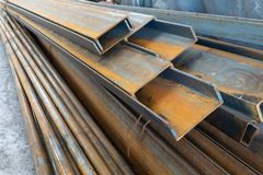 Metal in stock, corner, channel, beam. Metal structures for the assembly of metal products.  royalty free stock photo