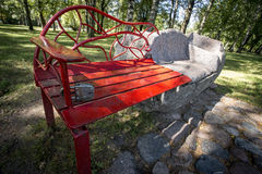 Metal stone bench in city Royalty Free Stock Image