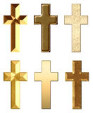 Metal and Stone Crosses Gold Royalty Free Stock Photography