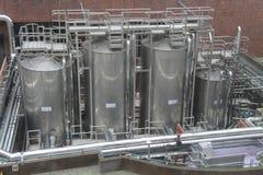 Metal Storage Tanks. Royalty Free Stock Images