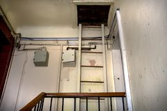 Metal straight staircase stock photo