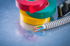 Metal strippers conduct tubing wires and insulating tape Stock Images