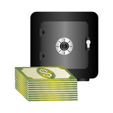 Metal strong box with stacked banknote with dollar sign Royalty Free Stock Photos