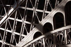 Metal structure. Eiffel Tower detail with black background stock photos