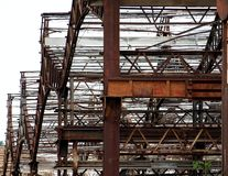 Metal Structure of a Deserted Factory Stock Photos