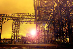 Metal structure of industry chemical tube in heavy industrial es Stock Images