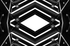 Metal structure similar to spaceship interior in black and white royalty free stock image