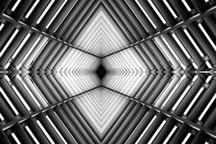 Metal structure similar to spaceship interior black and white photo. stock images