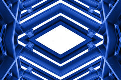 Metal structure similar to spaceship interior in blue tone Royalty Free Stock Photo