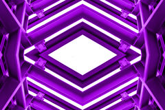 Metal structure similar to spaceship interior in purple tone. royalty free stock photos
