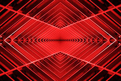 Metal structure similar to spaceship interior in red light. stock images