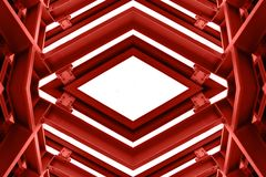 Metal structure similar to spaceship interior in red tone. royalty free stock photos