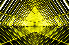 Metal structure similar to spaceship interior in yellow light. stock images