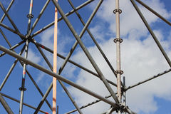 Metal structures that are installed to create a scene outdoors against the sky. Stock Photography