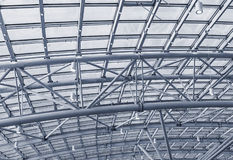 Metal structures on the roof of the shopping complex background Royalty Free Stock Photos