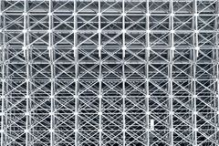 Metal structures of the stadium, the reverse side of the stands. Engineering structures connected by bolt fasteners stock images